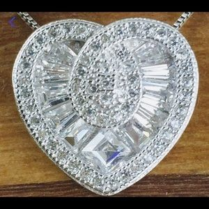 Jewelry - White Sapphire Heart Slider Necklace